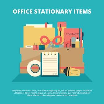 Collection stationnaire de bureau. affaires gadgets gestionnaire éducation fournitures dossier papier livre stylo crayon agrafeuse composition