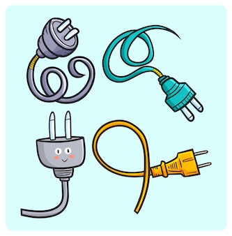 Collection de steckers drôles de câbles dans un style simple doodle