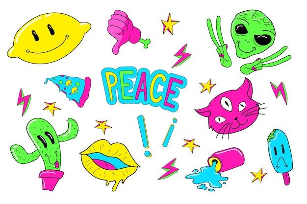 Collection de stickers amusants aux couleurs acidulées