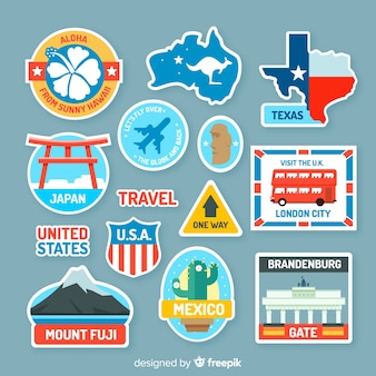 Collection de stickers autocollants de voyage