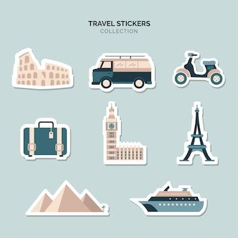 Collection de stickers éléments de voyage
