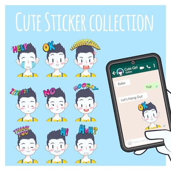 Collection de stickers emoji garçon mignon