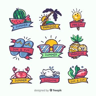Collection de stickers été kawaii