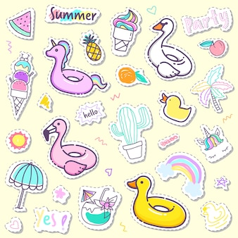 Collection de stickers été mignonne en couleur pastel