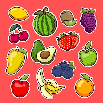 Collection de stickers fruits