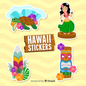 Collection de stickers hawaii