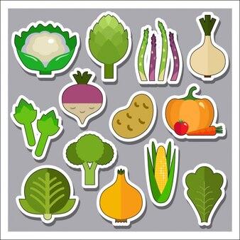 Collection de stickers de légumes
