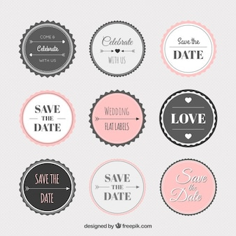 Collection de stickers de mariage vintage