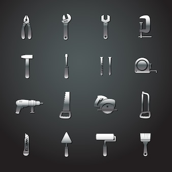 Collection De Stickers Outils En Métal Vecteur gratuit