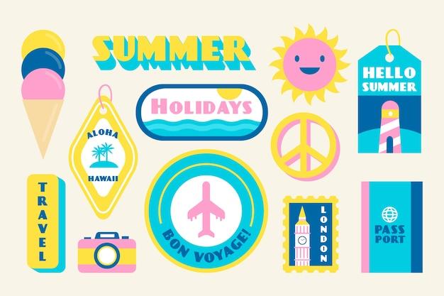 Collection de stickers vacances en été