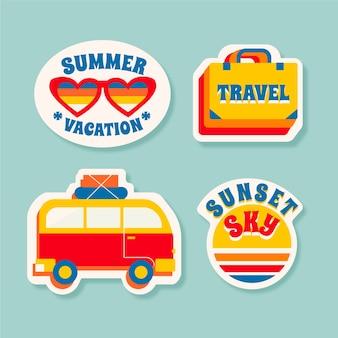 Collection de stickers voyage / vacances dans le style des années 70