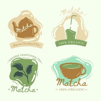Collection de style badges de thé matcha