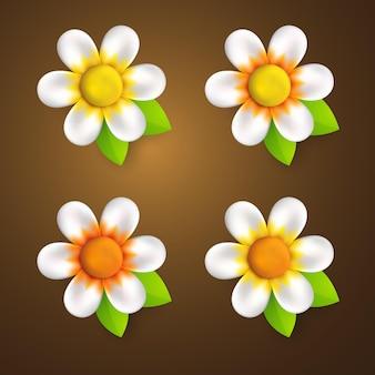 Collection de style de dessin animé de fleur 3d réaliste pour élément de conception d'été et de printemps