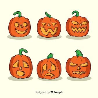 Collection de style dessiné à la main citrouille d'halloween