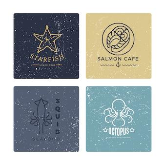 Collection de style de ligne étiquettes de fruits de mer grunge