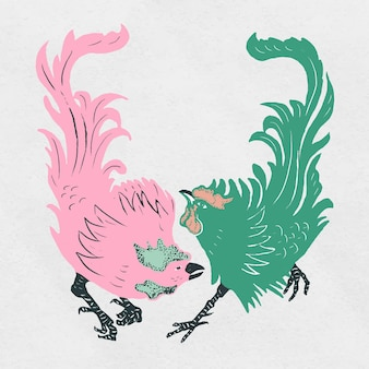 Collection de style linogravure d'oiseau de coqs vintage