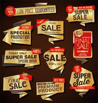Collection de style origami des étiquettes et des bannières modernes de vente