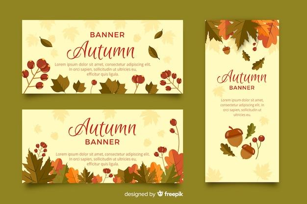 Collection de style plat bannière automne