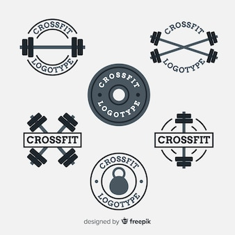 Collection de style plat logo crossfit