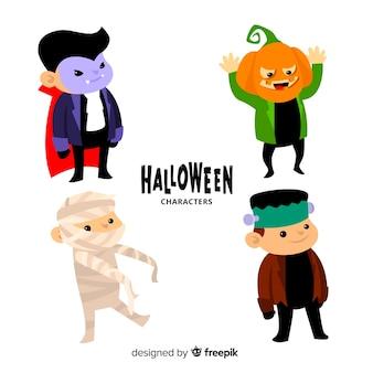 Collection de style plat de personnages pour enfants d'halloween