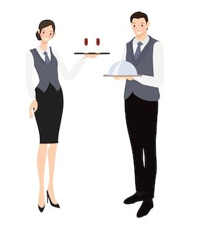 Collection de style plat pour serveur et serveuse professionnel