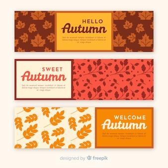 Collection de style rétro bannière automne