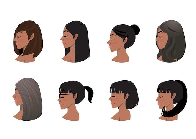 Collection de styles de cheveux de femmes afro-américaines. ensemble d & # 39; avatars de vue de côté de femmes noires