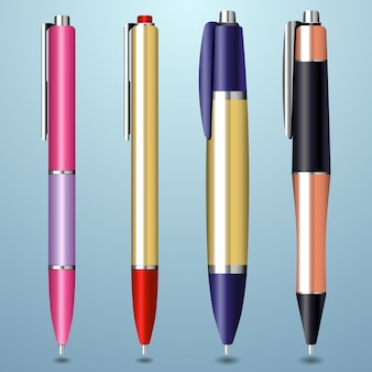 Collection de stylos colorés et réalistes