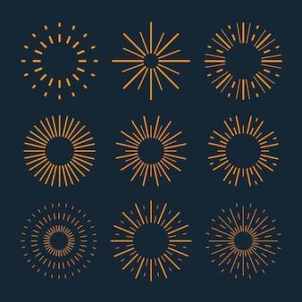Collection de sunburst de design plat linéaire