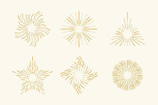Collection de sunburst dessinés à la main