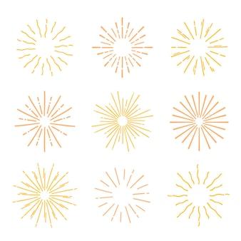 Collection de sunburst jaune dessinés à la main