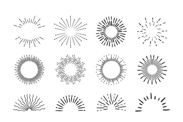 Collection de sunburst de style dessiné à la main