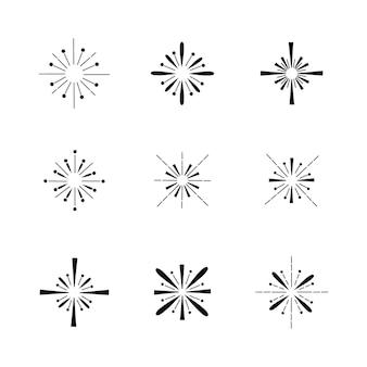 Collection de sunbursts dessinés à la main