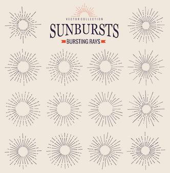 Collection sunbursts de rayons rétro tendance dessinés à la main. coucher de soleil, lever de soleil et symbole de feux d'artifice radial. éléments de design. sunbursts vintage en couleur noire