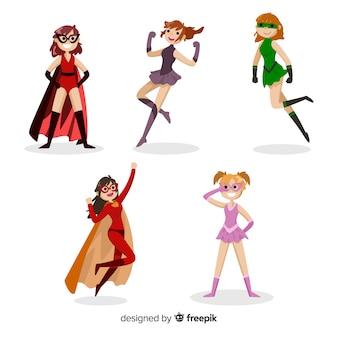 Collection de super-héros féminin coloré avec un design plat
