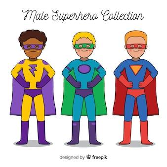 Collection de super-héros masculin en style cartoon
