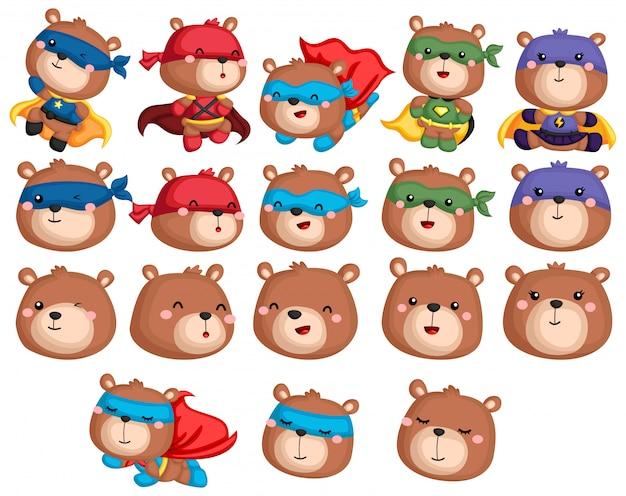 Collection de super-héros d'ours