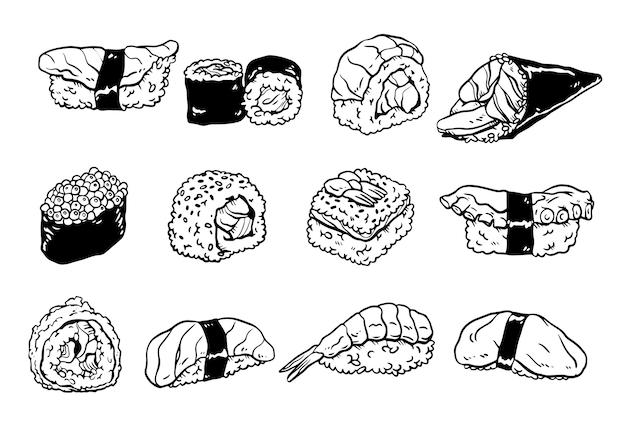 Collection de sushi doodles dessinés à la main