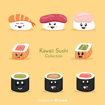 Collection de sushi kawaii dessinés à la main