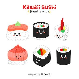 Collection de sushi kawaii dessinés à la main