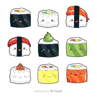 Collection de sushis adorables dessinés à la main