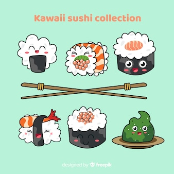 Collection de sushis adorables dessinés à la main