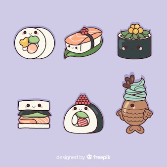 Collection de sushis charmante dessinée à la main