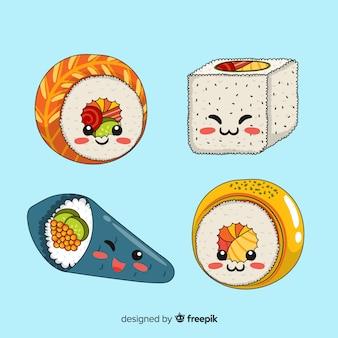 Collection de sushis charmante dessinée à la main