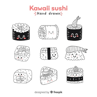 Collection de sushis dessinés à la main kawaii sans couleur