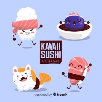 Collection de sushis drôles dessinés à la main