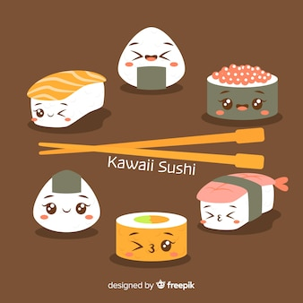 Collection de sushis kawaii dessinés à la main