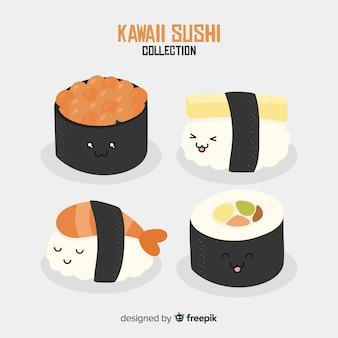 Collection de sushis kawaii dessinés à la main