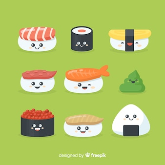 Collection de sushis kawaii