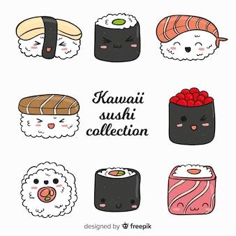 Collection de sushis mignons dessinés à la main